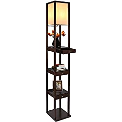 Brightech Maxwell Drawer Edition - Shelf & LED Floor Lamp Combination - Modern Living Room Standing Light with Asian Display Shelves - Havana Brown