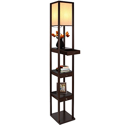 Brightech Maxwell Drawer Edition - Shelf & LED Floor Lamp Combination - Modern Living Room Standing Light with Asian Display Shelves - Havana ()