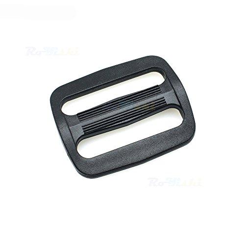 15pcs 1-1/4 Plastic Curve Slider Tri-Glide Adjust Buckles Backpack Straps Black Webbing 30mm