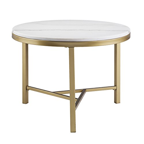 - Round Marble Table - Geometric Champagne Gold Frame - Real Stone Accent Table (24