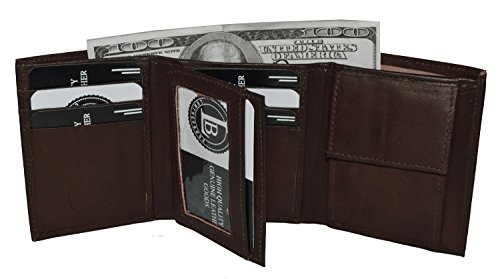 Boys Slim Compact Flap Id and Coin Pocket Trifold Wallet (Dark Brown) ()