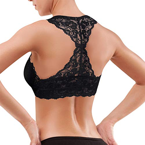 b22ef33a5e0e2 Rolewpy Women s Sexy Lace Bra Padded Racerback Breathable Bralette Bustier  (Black(Gym Crop Top)