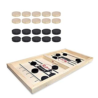 Slingshot Board Game, Wooden Desktop Hockey Game Fast Sling Puck Game for Kids and Adults, Parent-Child Interactive Game Set for Family Party (Big Size)
