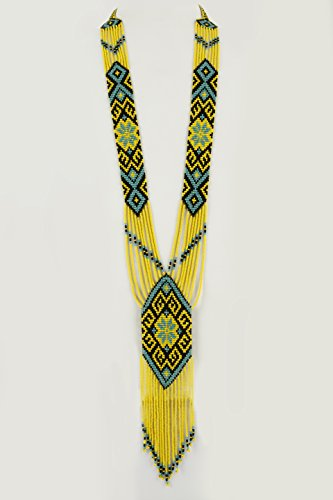 El Allure Native American Style Inspired Multi Color Preciosa Jablonex Patterned Seed Bead Long Handmade Vintage Designer Unique Fashion Costume Seed Beaded Necklace for Women.