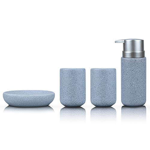 (Fimary Grey Bathroom Accessories Set Complete - Bathroom Sets Including 4 Piece Ceramic Bathroom Accessory Set Soap Dispenser, Toothbrush Holder, Tumbler, Soap)