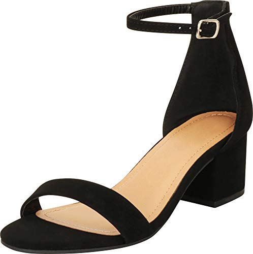 Cambridge Select Women's Open Toe Single Band Buckled Ankle Strap Chunky Block Mid Heel Sandal,11 B(M) US,Black NBPU ()