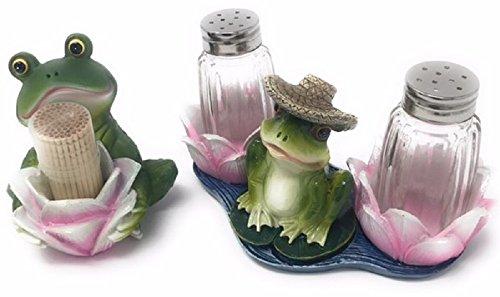 Salt Pepper Toothpick (Frog Salt and Pepper Shakers and Toothpick Holder Bundle)