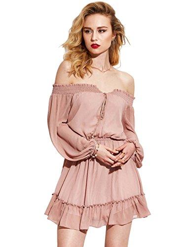 Vintacy Women's Off Shoulder Ruffle Long Sleeve Pink Summer Chiffon Mini Sun Swing Dresses