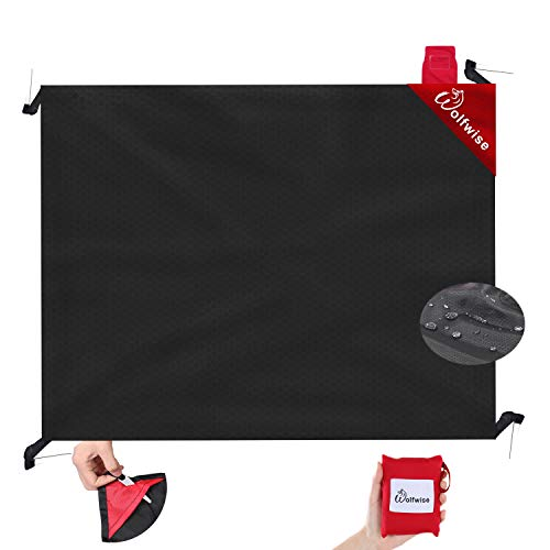 WolfWise Pocket Blanket, Outdoor Camping Picnic Beach Mat Made with Soft Lightweight Quick-Dry Polyester, Sand Proof with 4 Stakes, Black