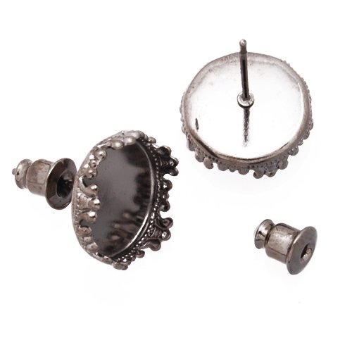 Gun-black Stud Earrings Findings- Fit 12mm Cabochon Settings- 50pcs