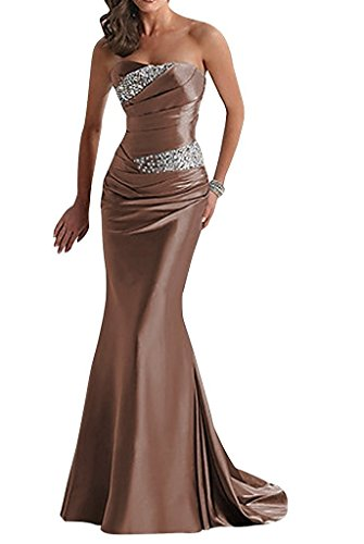 APXPF Women's Long Beaded Mermaid Evening Bridesmaid Dress Formal Prom Gown Chocolate US4
