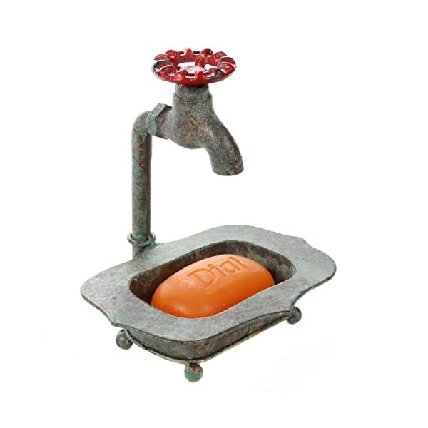 Lily's Home Vintage Rustic Bar Soap or Kitchen Sink Sponge Holder, Dish Style with Country Design Crafted from an Old Spigot and is Ideal for Any Whimsical Decor Style, Green Patina 3