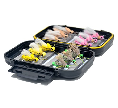 Outdoor Planet Dry Fly 12 Foam Hopper Fly Lure Assotment + Waterproof Fly Box for Trout Fly Fishing Flies - Hopper Dry Fly