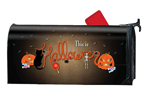 JuLeFan This is Halloween Design Magnetic Mailbox Cover - Spring Summer Themed, Decorative Mailbox Wrap for Standard