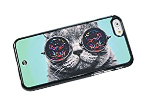 1888998366686 [Global Case] Crazy Cat Kitty Sunglasses Galaxy Stars Infinity Dream Nebula Constellation Planets Space Funny Dark Laser (BLACK CASE) Snap-on Cover Shell for VIVO X3