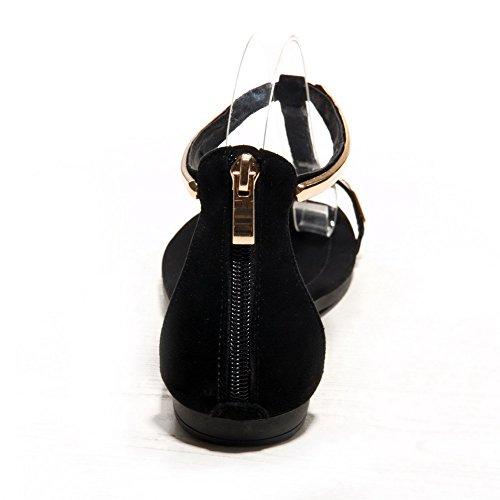 AmoonyFashion Womens Zipper No-heel Sheepskin Solid Split Toe Sandals Black C9kXTk3