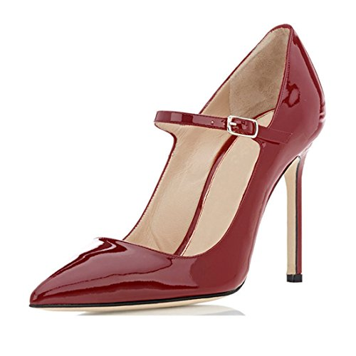 Mary Jane Con Pompe Caviglia Bordeaux Punta Tacco Alto Donne Sammitop Cinturino Della Scarpa Aguzza XqwEYvZX