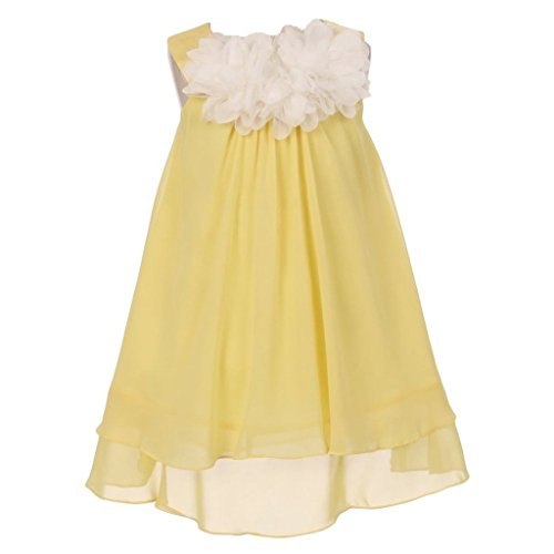iGirlDress Big Girls' Mesh Chiffon Flower Girls Dress 8 Yellow -