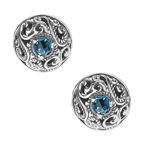 - Carolyn Pollack By CP London Blue Topaz Button Earrings