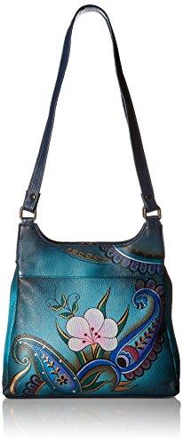 Anna by Anuschka Women's Genuine Leather Hobo Bag | Hobo Handbag, Shoulder Bag | Great Organizer, Compact Size | Hand Painted Original Artwork (Denim Paisley - Anna Hobo