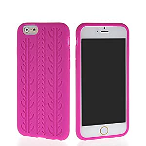 Moonmini Tire Lines Soft Silicone Skin Back Case Cover For Apple iPhone 6 Hotpink