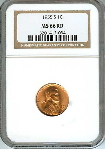 1955-S Lincoln Wheat 1c Cents Coins NGC Graded MS66 Red