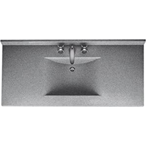Swanstone Cv2243 042 Contour 43 Inch Solid Surface Vanity Top With Gray Granite Basin