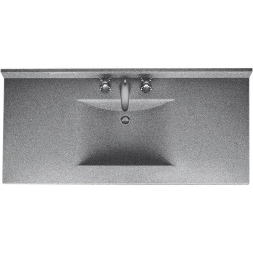 Swanstone CV02243.042 Contour Solid Surface Single-Bowl Vanity Top, 43-in L X 22-in H X 6.25-in H, Gray Granite