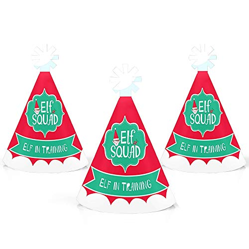 Elf Squad - Mini Cone Kids Elf Christmas and Birthday Party Hats - Small Little Party Hats - Set of 10 -