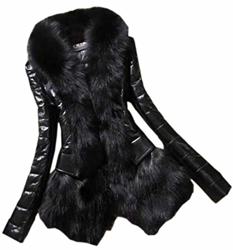 Short Leather today PU Womens UK As Warm Outwear Skinny picture Stitching Faux Fur pxIFqg