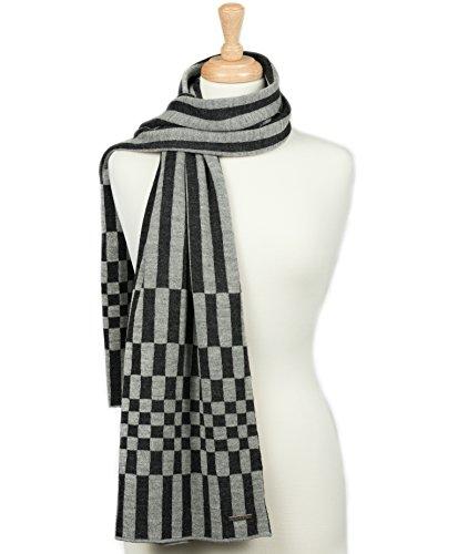 LUNA & TERRA-FIRENZE Scarf Wrap Knit 100% BABY ALPACA (Charcoal/Silver)