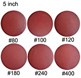 Sackorange 60 PCS 5-Inch NO-Hole PSA Aluminum Oxide Sanding Disc, Self Stick(10 Each of 80 100 120 180 240 400)(5 inch)