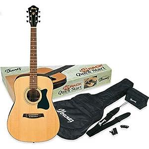 IBANEZ Jampack Akustikgitarren-Set mit Dreadnought Gitarre – Natural inkl. Tasche und Zubehör (V50NJP-NT)