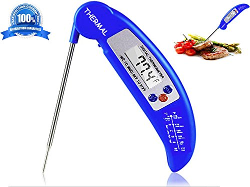THERMAL Instant Read Digital Meat Thermometer - LATEST MODEL with Magnet & Calibration Feature - Best Food Thermometer with Collapsible Long Probe - Suitable for Cooking, Baking, Grill, BBQ & Liquid. - Thermal Probe