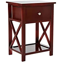 HomCom X-Side Wood End Table / Nightstand w/ Drawer - Brown
