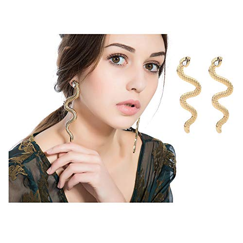 - WLL Gold Silver Tone Snake Personalized Stud Earrings Charm Nature Animal Earring Jewelry for Women (Gold)