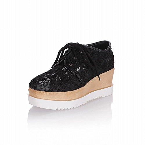 Latasa Femmes Élégantes Chic Dentelle Lace-up Plateforme Oxfords Chaussures, Wedges Chaussures Noir