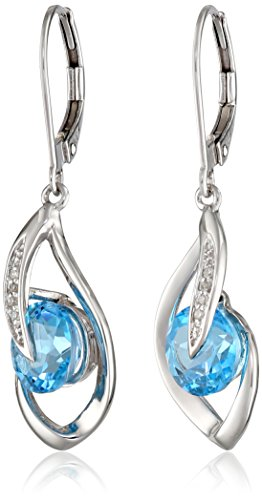 Blue Topaz With Diamond Earring - 10k White Gold Swiss-Blue-Topaz and Diamond Accent Flame Drop Earrings
