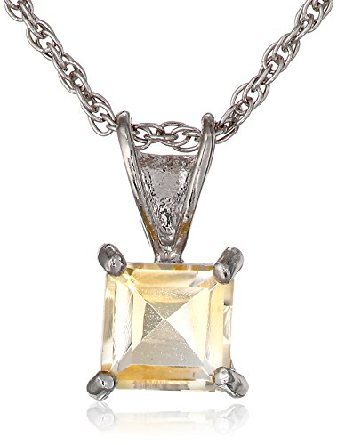 Sterling Silver Square shape-Cut Citrine Pendant ()