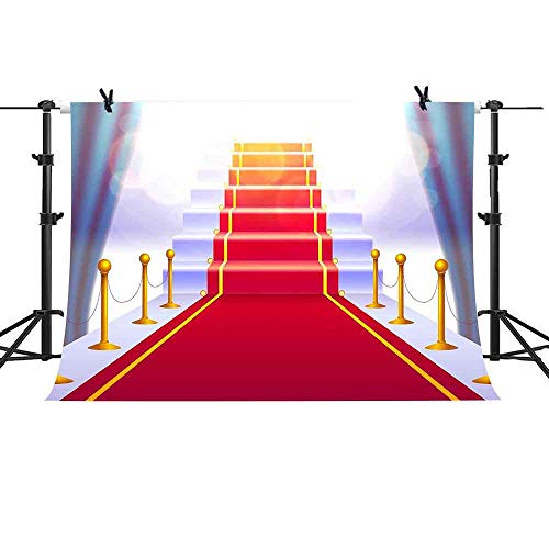 MME 10x7ft Fantasy Red Curtain Background Stairs Hollywood Red Carpet Theme Party Photography Background for Parties Supplies LSME061 ()