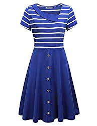 Moqivgi Patchwork Dress Ladies Short Sleeve Sailor Collar Knee Length Button Down Colorblock Chic Nice Popular Modest Church Dresses Contemporary Designer Clothes Womens Dresses Blue Large