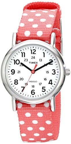 Timex Women's TW2P656009J Weekender Silver-Tone Watch with Reversible Pink Nylon Band -