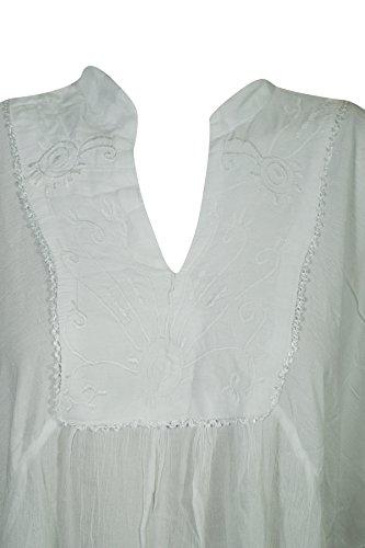Mogul Damen Weiß himmelblau Tunika Interior Kleid Blau wrO5Bwqz