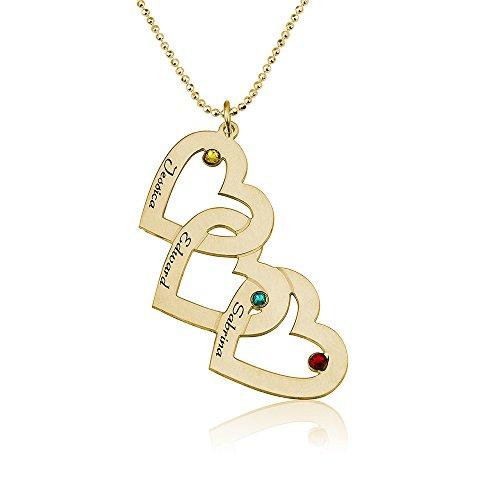 Personalisierte Namenskette Herzkette mit drei Herzen - graviert mit Ihren eigenen 3 Namen und Geburtssteinen (55)