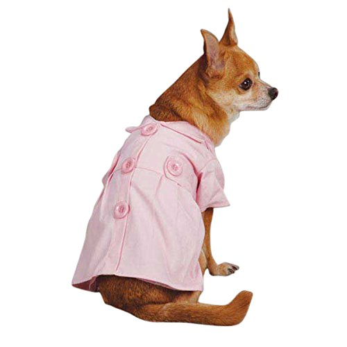 East Side Collection Cotton Jacqueline Trench Dog Coat, XX-Small, Pink