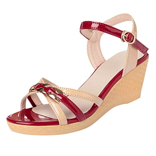 - Sandals for Women,Sharemen Open-Toe Mixed Color Wild High Heel Sandals Buckle Strap Wedge Shoes(Red,US: 5)