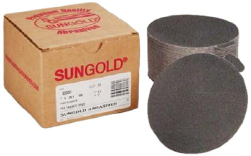Sungold Abrasives 036069 6-Inch 80 Grit PSA Sanding Discs Silicon Carbide Cloth For Stone, Glass and Marble, Pack-50