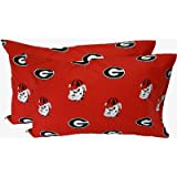 College Covers Georgia Bulldogs Pair of Solid Pillowcase, King