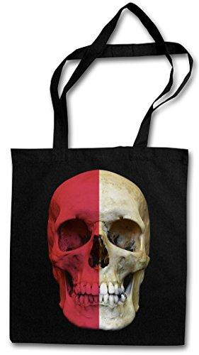 CLASSIC POLAND SKULL FLAG Hipster Shopping Cotton Bag Cestas Bolsos Bolsas de la compra reutilizables - Bandera cráneo Schädel Banner Fahne Polen Polonia