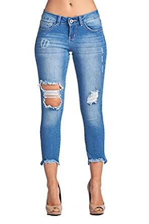BLUE AGE Womens Destroyed Ripped Distressed Skinny Jeans (1, AMP120_MDWASH)